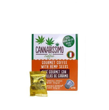 Cannabissimo Caffè Gourmet Coffee con Semi di Canapa – Astuccio da 50gr. con 10 Capsule Compatibili Nespresso