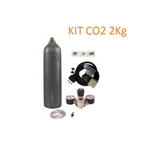 Kit CO2 Professionale 2Kg con Riduttore, Due Manometri, Elettrovalvola e Tubo